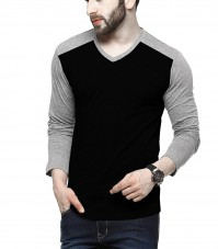 For 199/-(78% Off) Tripr Men's V-Neck Full Sleeves Tshirt Black Grey at Amazon India