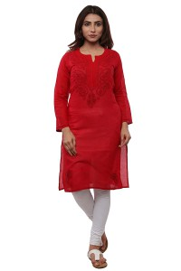 For 840/- BDS Chikan Pure Cotton Red Colour kurti For Woman Red Colour Thread Work at Amazon India